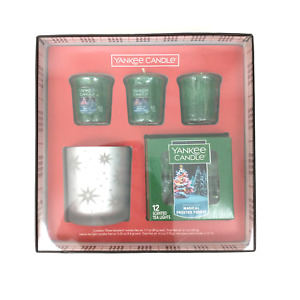 Yankee Candle Magical Frosted Forest Holiday Set Tea Lights Votives Holder New