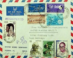 INDIA 1971 11v ON DUNKIRKLINES POONA REGD AIRMAIL COVER TO FREIBURG GERMANY