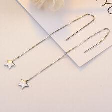 Damen Ohrringe Durchzieher Stern echt Sterling Silber 925 rhodiniet Ohrhänger