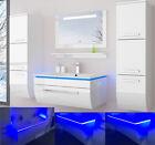 Badmöbel Set montiert Weiss oder Schwarz Hochglanz Badezimmermöbel 70cm 6tlg LED