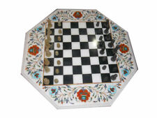 Marble Chess Game Table Top Floral Inlay Art Pietra Dura Work