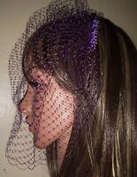 "Ladies Purple birdcage wedding veil 9"" Veil is attached to metal comb Fascinator"