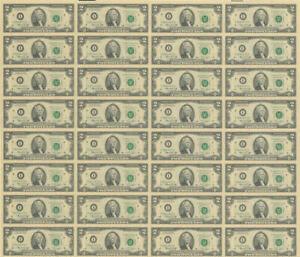 Uncut Sheet 32 $2 Bills 1976 FRN Minneapolis, MN Fr# 1935-I