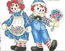 RARE! RAGGEDY ANN AND ANDY LARGE FABRIC APPLIQUE