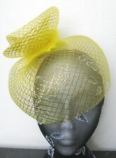 gold feather fascinator millinery burlesque headband wedding hat hair piece x