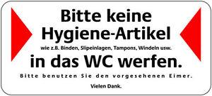1006  WC Aufkleber Bitte keine Hygieneartikel Binden in WC werfen 20x9 cm