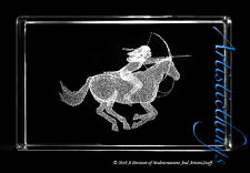 3D LASER CRYSTAL PAPERWEIGHT NATIVE AMERICAN HUNTER ON HORSE BACK-