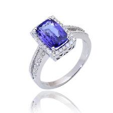 0.33 ct Round Cut Diamond & Tanzanite Real 10K White Gold Cluster Ring WGR02