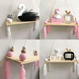 Natural Wooden Beads Wall Hanging Board Storage Shelf Tassel Home Nursery Decor