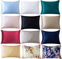 100% Pure Mulberry Silk Pillowcase for Hair Standard Queen Zipper Covers Bedding