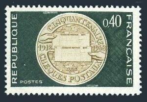 France 1202 block/4,MNH.Mi 1609.Postal checking service,1968.Commemorative medal