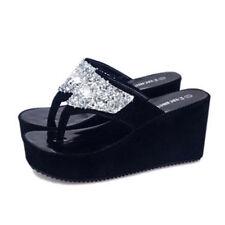 Summer Women Sandals High Heel Rhinestone Platform Shoes Flip Flop Wedge Shoes N