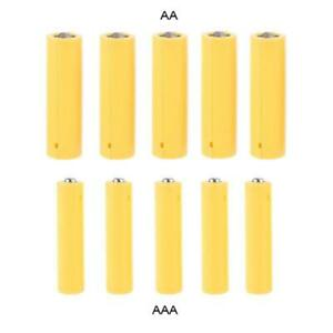 5Pcs AA AAA Size Dummy Fake Battery Placeholder Cylinder Conductor Shell Yellow