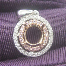 6.0mm Round Cut Solid 18k White & Rose Gold Natural Diamond Semi Mount Pendant