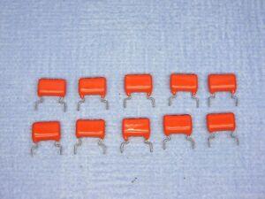 QUANTITY  OF  10 PHILIPS 0.22uF / 220nF 20% 250V ORANGE DROP CAPACITORS
