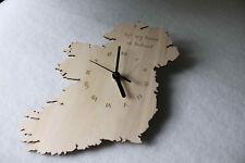 Custom Unique Bespoke Ireland Shape Clock Eire Map Wooden Handmade Ireland