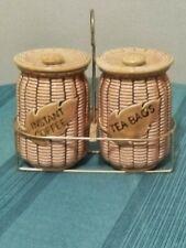 Vintage Tilso Ceramic Beige Tea Bag Coffee Holder Basket Weave Japan