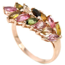 NATURAL AAA MULTI COLOR TOURMALINE MARQUISE STERLING 925 SILVER RING SIZE 7.5