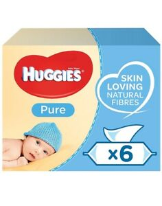 HUGGIES PURE BABY WIPES - 6 x 56s (336 WIPES IN TOTAL)