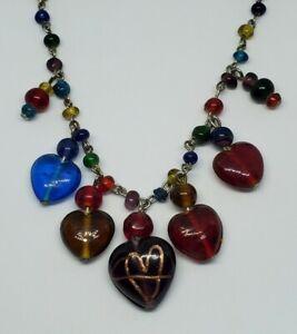 "Multicolor Art Glass Heart Arrow Dangle Charm Link Necklace 20.5"""