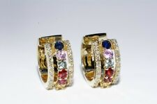 $1,100 .60CT NATURAL MULTI-COLOR SAPPHIRE & DIAMOND HUGGIE HOOP EARRINGS 14K