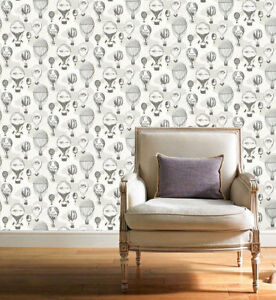 Unusual / Surreal Grey, Cream & Silver, Paste the Wall, Balloon Themed Wallpaper