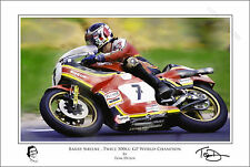 Barry Sheene Art Print Signed and Numbered by Artist Tom Dunn. Ltd Edition COA