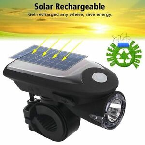 Solar Powered Reachargable Bicycle Headlight Usb Led Light Rear Power Warn Safe