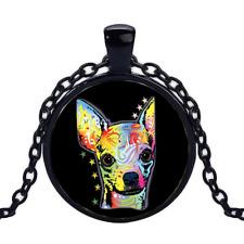 Vintage Chihuahua Neon Black Cabochon Glass Necklace chain Pendant