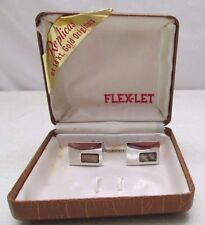 Vintage Flex-Let Cufflinks in Box MOP Mother of Pearl Silver Tone Rhodium Finish