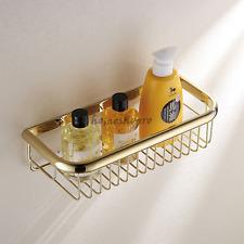 Solid Brass Gold Wall Mounted Bathroom Shower Caddy Shelf Storage Basket Holder