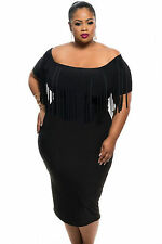 Abito Frange Top aderente Taglie forti Grandi Curvy Formosa Plus Size Dress XXXL