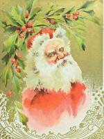 C.1900-10 Embossed Santa Claus Holly Berries Christmas Vintage Postcard F56