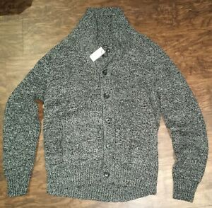 EXPRESS DARK GRAY SWEATER CARDIGAN XL BUTTON NEW W TAGS SOME BLACK HEATHER MENS