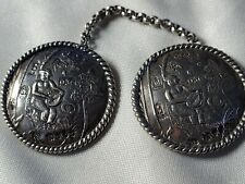 More details for curious antique repousse style 930 silver buttons connected with silver chain