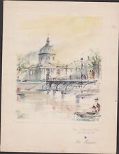 MENU VINTAGE 1952-AIR FRANCE-PARIS/NEW YORK-INSTITUT FRANCE-PONT DES ARTS/PAGES