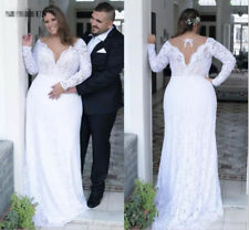 V Neck Lace Sheath White Vintage Wedding Dress Bridal Gown Plus Size 20 22 24 ++