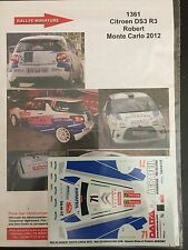 DECALS 1/43 CITROEN DS3 R3 ROBERT RALLYE MONTE CARLO 2012 RALLY WRC
