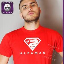 2933 T-shirt ALFA ROMEO ALFAMAN rouge et blanc pour homme inspiration Superman