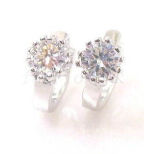 White 18K Yellow Gold Plated Clear Crystal Girl Small Huggie Hoops Earrings UK