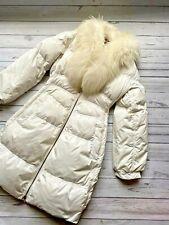 £1500 Roberto Cavalli White Racoon Fur Puffer Coat, Down Jacket, Size 12 UK, 44