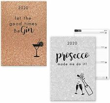 1x 2020 A5 Glitter Gold Gin/Silver Prosecco Week To View Planner Diary Journal