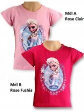 4 ans rose clair * T-shirt manches courtes LA REINE DES NEIGES Frozen Disney