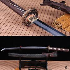 Clay Tempered Folded Steel Abrasive japanese wakizashi sword full rayskin saya.