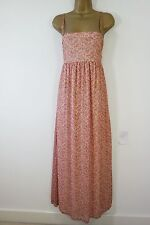 MISS SELFRIDGE PINK CREAM FLORAL MAXI DRESS SIZE 12 OPEN BACK STRAPPY