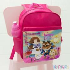 Girls School Backpack Beauty and The Beast Childrens Pink Bag *Personalised*