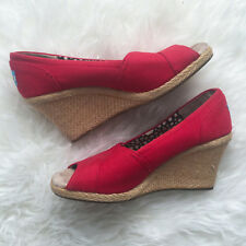 TOMS Women's 8.5 Wedge Heels Sandals Peep Toe Canvas Red Shoes