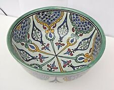 TRADITIONAL HAND PAINTED CERAMIC LARGE  FRUIT / SALAD BOWL/ PASTA * FES POTTERY