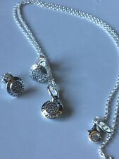 Genuine Pandora Signature Pave Logo Necklace and Earrings SET 45cm S925 ALE