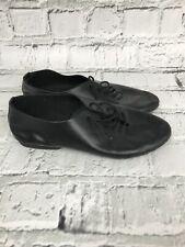 Black Leather Lace-Up Plimsolls Jazz Dance Shoes - Womens - Size 4